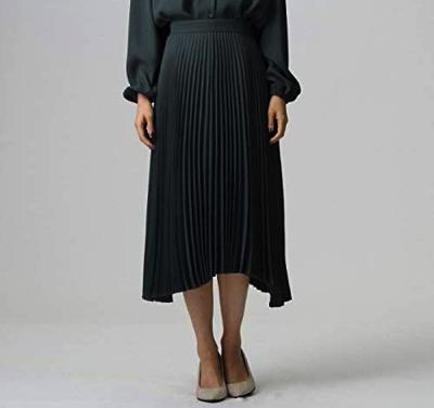 UNTITLED(アンタイトル)バックサテンイレギュラーヘムプリーツスカート