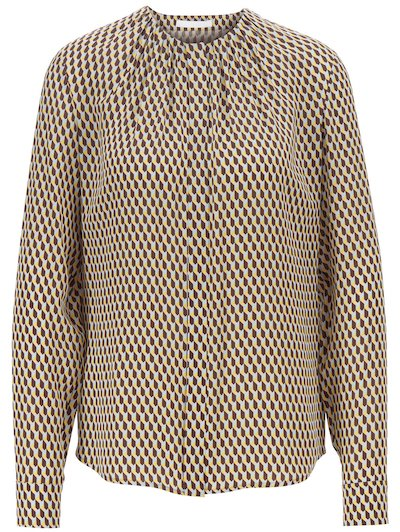 HUGO BOSS 「Silk blouse with retro-inspired print and gathered neckline」
