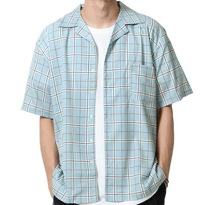 ZIP FIVE 半袖オープンカラーシャツ(24TURQUOISECHECK)