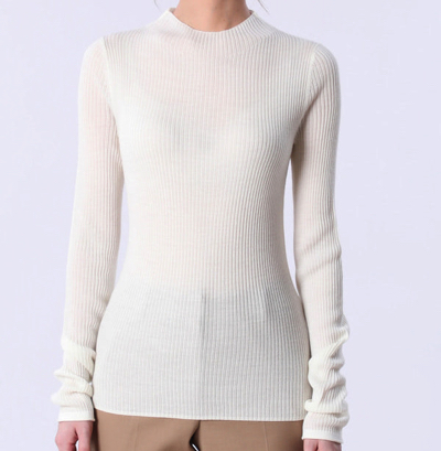 PLST(プラステ)【DANIELLE SHERMAN】ウールブレンドリブハイネックセーター