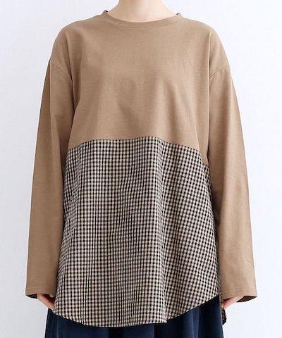 merlot(メルロー)チェックドッキングラウンドヘムロングTシャツ