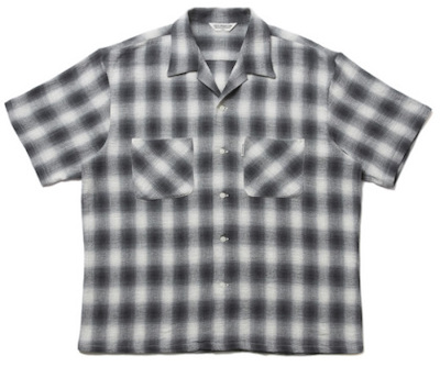 COOTIE PRODUCTIONS OMBRE CHECK OPEN-NECK S/S SHIRT