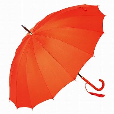女性用雨傘 16本骨傘 TRAD-16 オレンジ