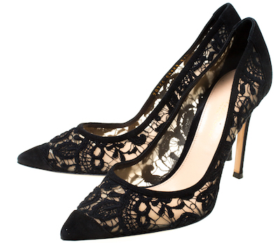 Gianvito Rossi Black Suede/Lace Pointed Toe Pumps