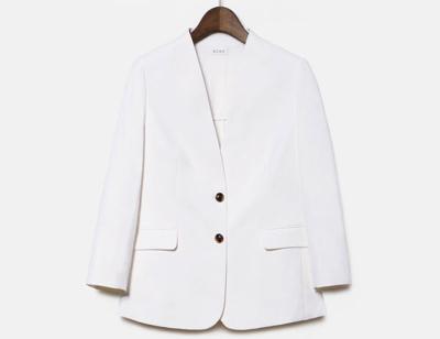 PLST(プラステ)【DANIELLE SHERMAN】リネンブレンドノーカラージャケット(オフホワイト)