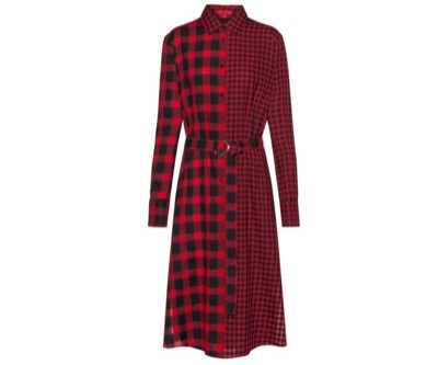 HUGO BOSS Midi shirt dress in mixed checks with D-ring belt