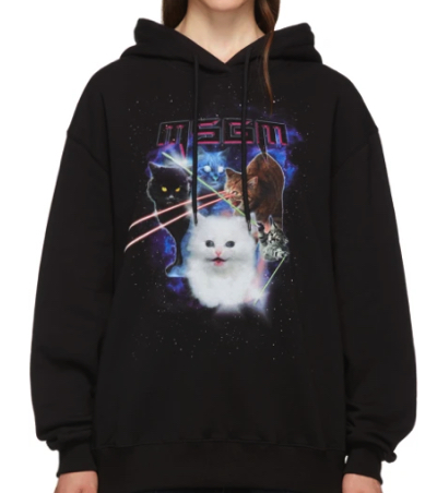 MSGM(エム・エス・ジー・エム)ブラック Space Cats フーディ