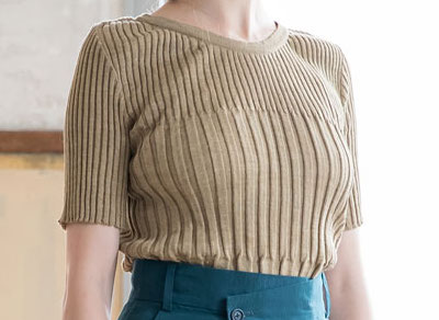 SALT+JAPAN2019SS LINEN RIB knit PULLOVER
