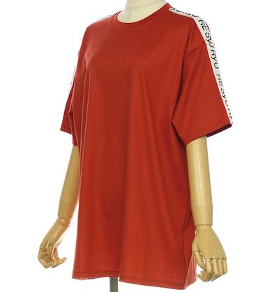 RE SYU RYUロゴプリントテープTシャツ M (オレンジ)