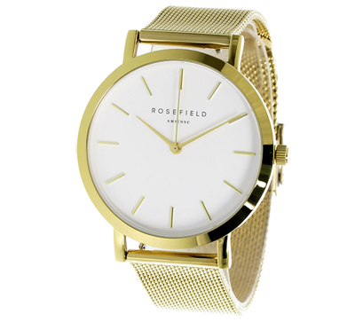 Rosefield(ローズフィールド)THE MERCER 38mm クオーツ腕時計 ホワイト(文字盤) ゴールド(ベルト)
