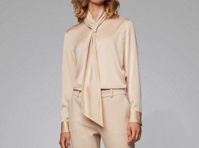 Hugo BossCrepe-de-chine blouse with tie neckline