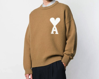 AMI PARISAmi De Coeur Intarsia Oversize Crewneck Felted Sweater