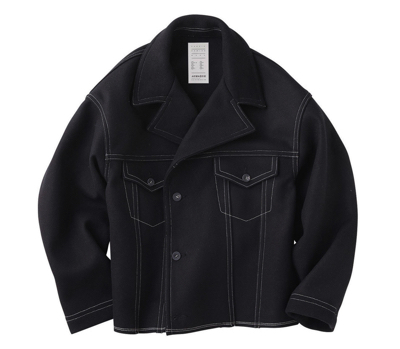 KURO(クロ) Melton Color Stitching Jacket / Black