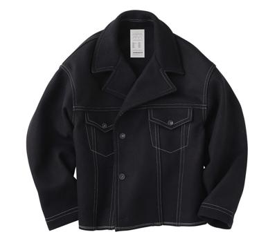 KURO(クロ)Melton Color Stitching Jacket / Black