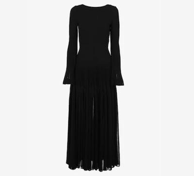 AZZEDINE ALAIAロング ウール混プリーツドレス
