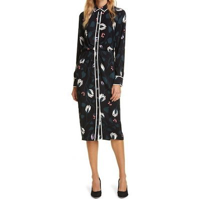 kate spade new york(ケイト・スペード・ニューヨーク) deco bloom long sleeve crepe shirtdress