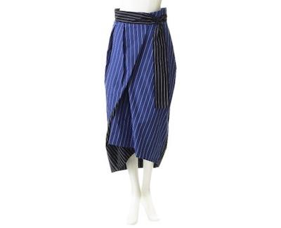 ENFOLD(エンフォルド)ドビーストライプ サッシュデザインスカート