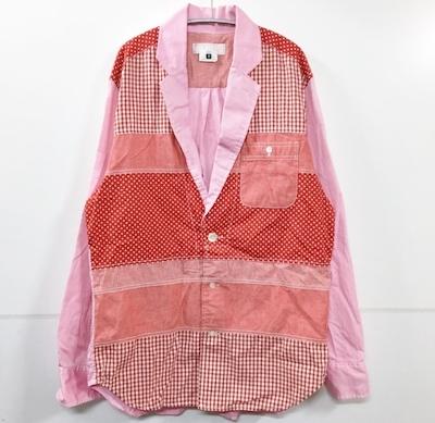 GANRYU(ガンリュウ)異素材切替 シャツ ジャケット レッド