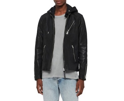 ALLSAINTS(オールセインツ) Harwood Hooded Leather Jacket Black