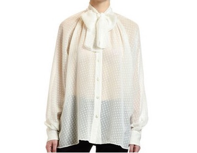 DOLCE&GABBANA Small-Dot Fil Coupe Tie-Neck Blouse