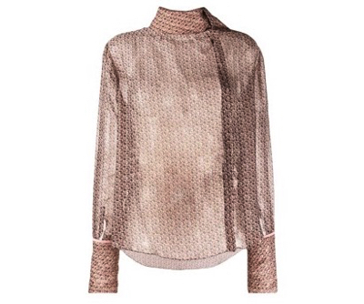 FENDIfoulard collar monogrammed blouse