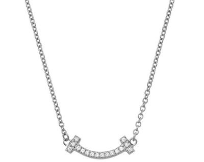 TIFFANY(ティファニー)ホワイトゴールド×マイクロ ダイアモンド Tiffany T スマイル ペンダント