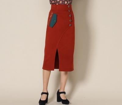 REDYAZEL(レディアゼル)起毛配色スリットタイトスカート
