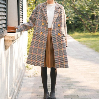 Shine Closetロング丈 ダブルブレスト 襟付き チェック柄 千鳥格子のコート