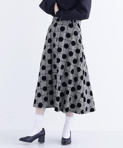 merlot plusフロッキードットAラインスカート