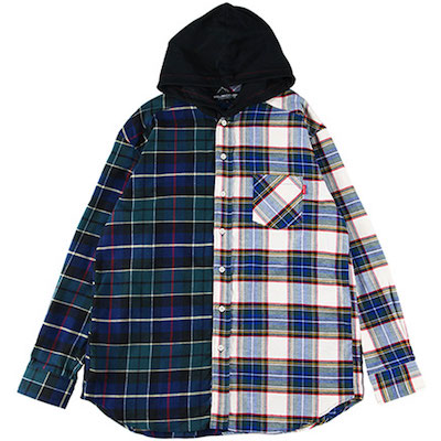 ROLLING CRADLE(ローリングクレイドル) 2TONE HOODED SHIRT(NAVY-WHITE)