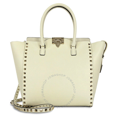 VALENTINO Rockstud Double Handle Leather Tote Bag - Light Ivory