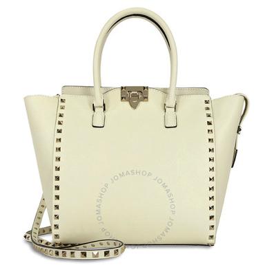 VALENTINORockstud Double Handle Leather Tote Bag - Light Ivory