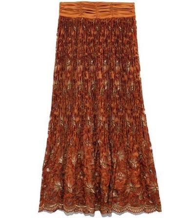 Lily Brown(リリーブラウン)フラワー刺繍プリーツスカート