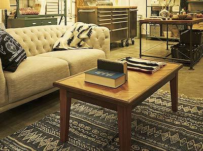 ヘリンボーン柄木製ローテーブル・リビングテーブル
