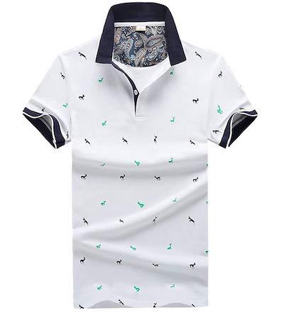 conservative(コンサバーティブ)ポロシャツ メンズ 半袖 夏 ゴルフ おしゃれ 鹿の プリント カジュアル トップス