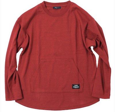 GLAZOS(グラソス)厚手天竺・ドロップショルダーポケット長袖Tシャツ