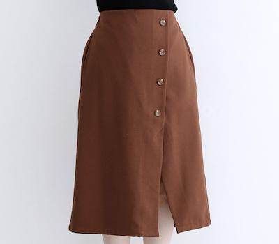 merlot(メルロー)フロントボタンアシンメトリースカート