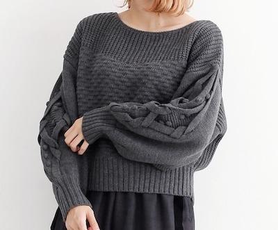 merlot(メルロー)模様編みパフスリーブニット