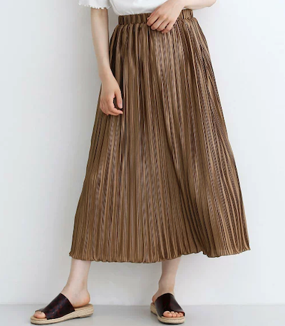 merlot(メルロー)ランダムサテンプリーツスカート