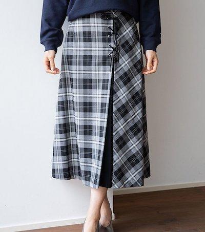 Mylanka(ミランカ)ツイルチェックレースアップスカート