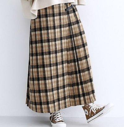 merlot(メルロー)チェック柄サイドベルトラッププリーツスカート
