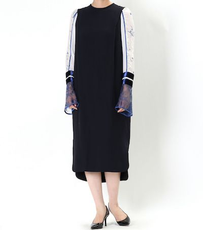 Mame Kurogouchi(マメ) SILK LAME PRINT SLEEVE DRESS