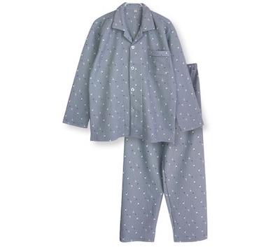パジャマ屋さんふんわり柔らかなニットキルト 犬プリント 前開きパボタンパジャマ