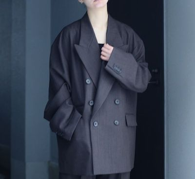 steinOversized Double Breasted Peaked Jacket