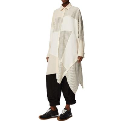 LOEWEオーバーサイズ ストライプ パッチワーク ドレス(コットン)