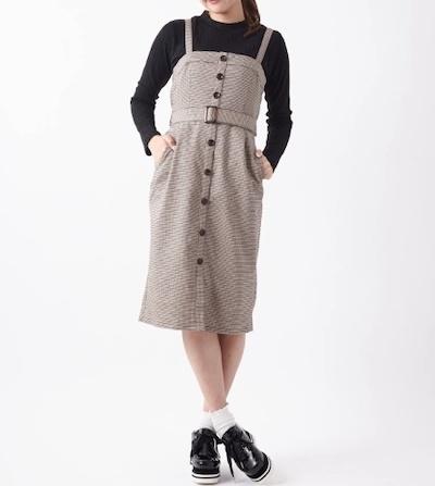 a.g.plus(エージープラス)【Park Ave】インナーセットチェックジャンパースカート