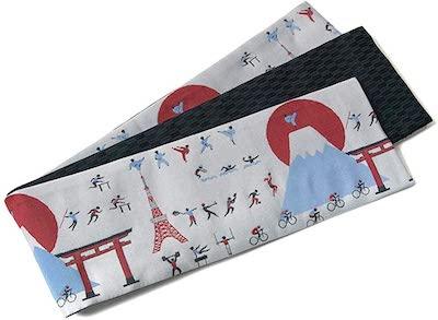 dear-japan(でぃあじゃぱん)半幅帯 おりびと オリンピック 東京タワー 富士山 グレー 灰 赤 青 織美桐 半巾帯 スポーツ