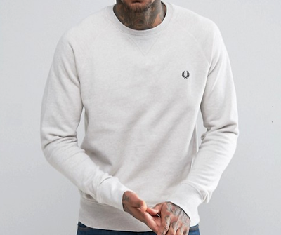 Fred Perry(フレッド・ペリー) Crew Neck Sweatshirt in White