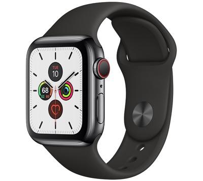Apple Watchスペースブラックステンレススチールケースとスポーツバンド