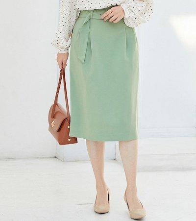 ViS(ビス)【EASY CARE】ハイウエストベルト付きタイトスカート